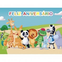 Panda e Amigos Painel para Festas de Aniversário